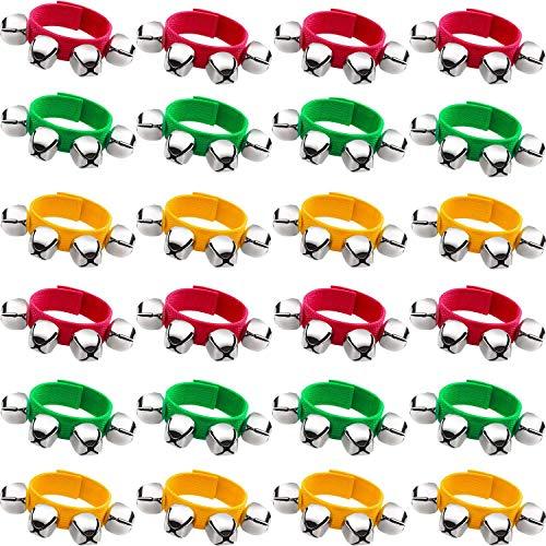 Nrpfell Banda Mu?Equeras Pulseras Jingle Musical Tobillo Campanas Instrumento de PercusióN Favores de Fiesta de PercusióN para Escolares de Navidad (24 Piezas, Rojo, Verde y Amarillo)