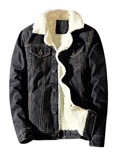 Springrain Men's Winter Sherpa Lined Denim Jacket Windbreaker Trucker Jacket (Black, X-Large)