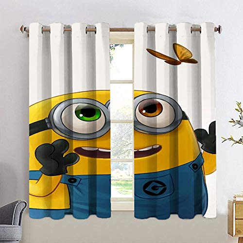 STTYE Window Curtain Drape Despicable Me Min_Ions Insulated Curtains for Doorway 2 Panel Kitchen Cafe Curtains W42 x L72