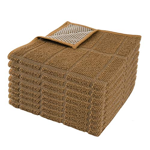 Microfiber Kitchen Dish Cloths for Washing Dishes with Poly Scour Side, Fast Dry no Odor wash Cloth with Scrubber Side, Dish Rags with mesh Back. 12x12 - (8X Brown)