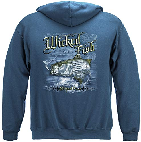 Striped Bass Fishing Hooded Sweatshirt, 100% Cotton, Show Your Love of Fishing with Our Wicked Fish Striper Bass Long Sleeve Sweatshirts for Men or Women (X-Large) Indigo Blue