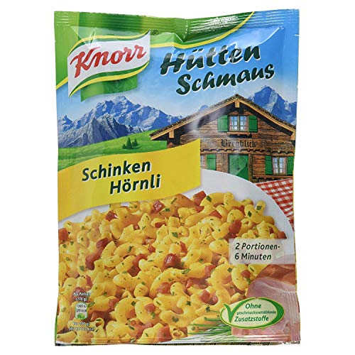 Knorr Hüttenschmaus Schinken Hörnli Nudel-Fertiggericht 2 Portionen (Verpackung Sortiert) (1 x 500 ml)