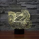 BFMBCHDJ 3D Motorrad Kreative Nachtlicht Led Bunte Lichter Festival Dekoration Energiesparende Dekorative Lichter A4 Weiß riss basis + fernbedienung