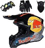 HAOYUNLAI Motocross Helmet Unisex, Children and Adults Motorcycle Cross Helmet for with Goggles (4 Pieces) Mountain Bike ATV Helmet BMX Downhill Off-Road Full Face Helmet Red Bull
