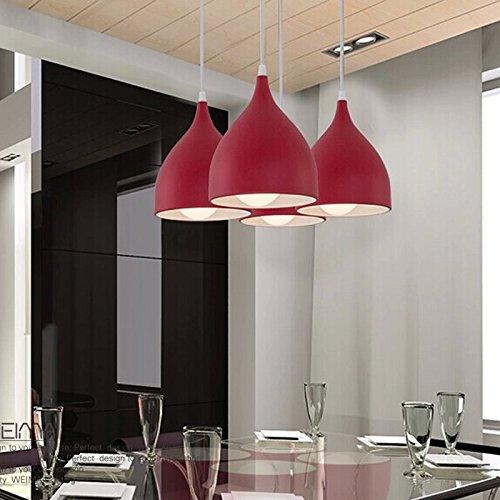 OAKLIGHTING Mini Pendant Lighting for Kitchen Island Red Shade Lamp Modern Dining Room Table Lights