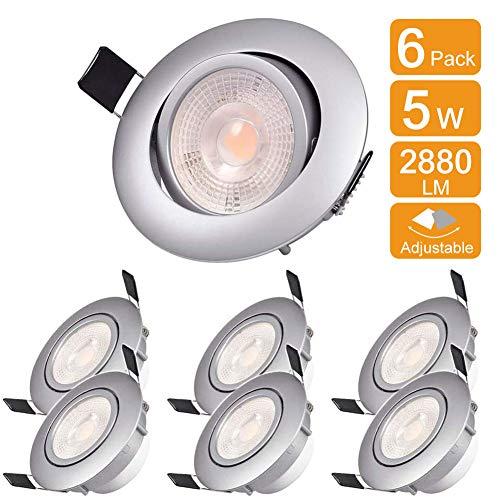 WZTO Foco Empotrable LED Techo, 2880Lumen 5W 3000K Ángulo Rotable 30° Ojos de Buey Marco Redondo Esmerilado Foco Empotrable para Sala de Estar, Oficina, Baño, Cocina