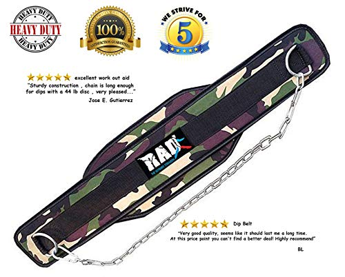 RAD Weight Lifting Dip Belt with Chain! Weightlifting Dipping Belt (Camouflage Green)