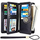 Lavemi Womens Large Capacity RFID Blocking Leather Wristlet Clutch Wallets Card Holder(1- Black)