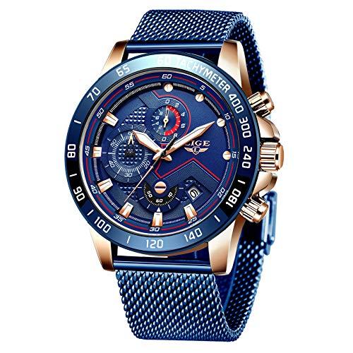 UhrenHerrenSchwarzEdelstahlMeshBandChronographQuarzUhrMännerDatumKalenderWasserdichtMultifunktionsArmbanduhrHerrenSportMeshMetall-Armband (Gold blau)
