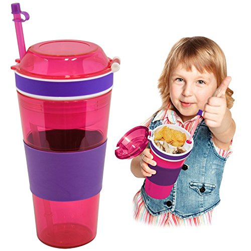 ASAB 2 in 1 Snack and Sip Cup | Food and Drinks Bottle with Straw for Kids | Bpa Free, No Spill, Top Slip Grip | 22+6Oz School and Travel Mug