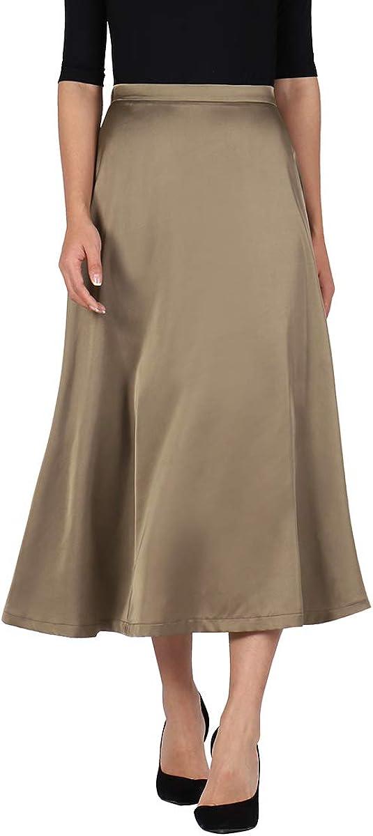 Hanlolo Women's Midi Skirt Satin High Waist Elegant A-line Flared Long Skirts
