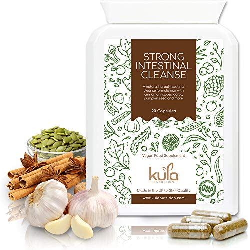 Intestinal Cleanse - 90 Vegan Capsules - Natural Herbal Complex - Strong Digestive Detox Food Supplement with Magnesium, Cinnamon, Cloves, Shiitake Mushroom, Garlic and Pumpkin Seed - Kula Nutrition.