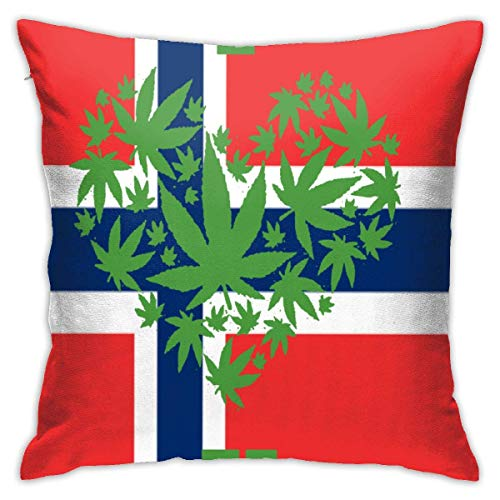 SSHELEY Pillow Cases Norwegian Flag Weed Throw Pillow Cover Decorative Pillowcases 18x18 Inch