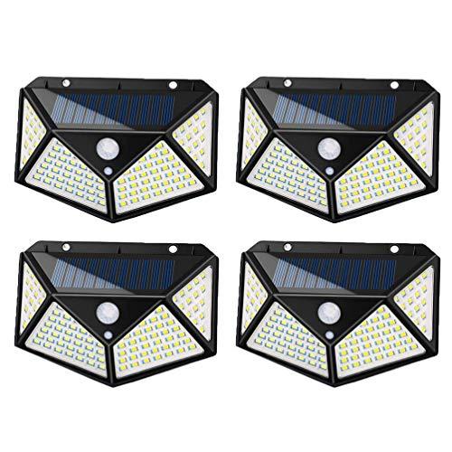 2Pcs Luz Pared Solar Impermeable Al Aire Libre Cuatro Lados 101 LED Sensor Movimiento del Cuerpo Luz Noche Luz jardín, decoración al Aire Libre