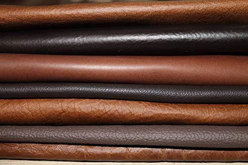 Retales de piel para manualidades, 1 kg, color marrón, todas las piezas son mínimas DIN A5 y más grandes, para manualidades y costura
