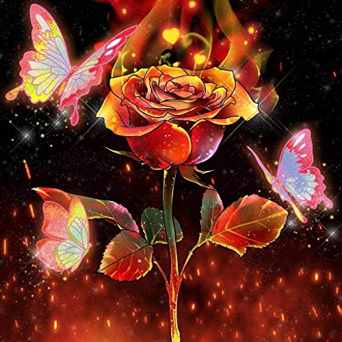 AIWO Diamond Painting Kits for Adults DIY 5D Round Full Drill Acrylic Embroidery Cross Stitch Diamond Paint by Numbers for Home Wall Decor-Rose Flower with Butterfly 12' X 12'