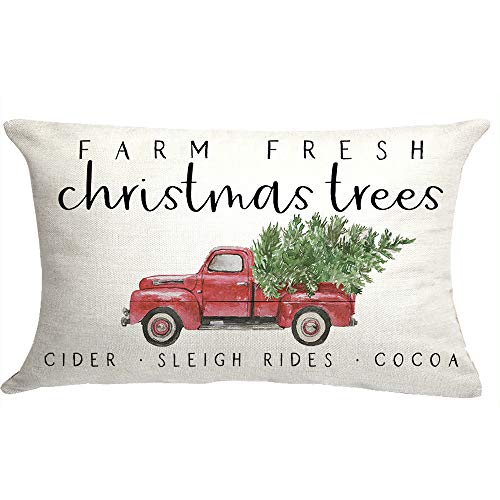GTEXT Farm Fresh Christmas Trees Red Truck Pillow Cushion Cover Case for Couch Sofa Home Decoration Cotton 18 X 18 Inches Deer Tree