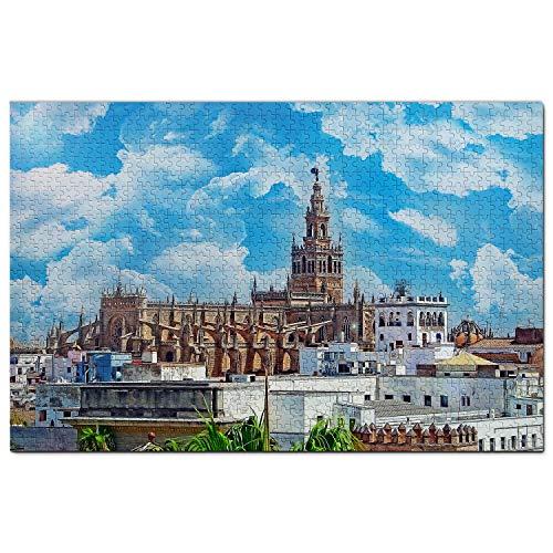 España Catedral de Sevilla Puzzle 1000 Piezas para Adultos Familia Rompecabezas Recuerdo Turismo Regalo