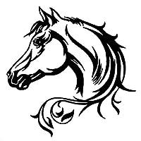 ステッカー 20 * 20cmの馬の頭の美しい動物のパターンボディの装飾ステッカー車のステッカー黒/銀 (Color : Black)