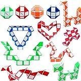 12 Piezas de Mini Serpiente de Cubo de 24 Bloques, Cubos mágicos de Velocidad de Serpiente torcer Rompecabezas de Fidget Serpientes Rompecabezas Regla mágica Adultos Alivio del estrés niños Juguete
