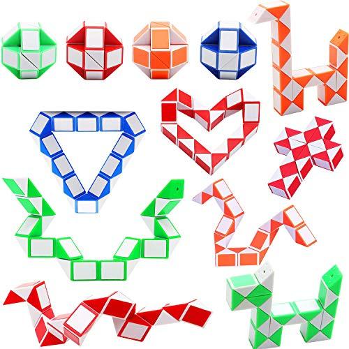 12 Stücke 24 Blöcke Magic Snake Puzzle Cube, Mini Schlangen Würfel, Magische Schlangenwürfel, Mini Speed Cubes, Snake Twist Puzzle Spielzeug für Kinder Party Tasche Füllstoffe
