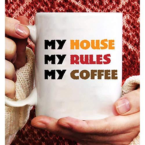 N\A Mi casa mis Reglas mi Taza de café, Tazas, Taza de café, Taza Divertida, Regalo de Taza, Regalo de Tazas, Regalos Tazas, Regalos para Mujeres y Hombres 11oz