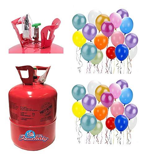 Zeus Party Bombola Elio per gonfiare 50 Palloncini + 50 Palloncini Colorati Omaggio per Feste Compleanni e Eventi