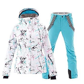 Women s Ski Jacket and Pants Set Colorful Printed Windproof Waterproof Snowsuit Rain Coat  White+Blue S