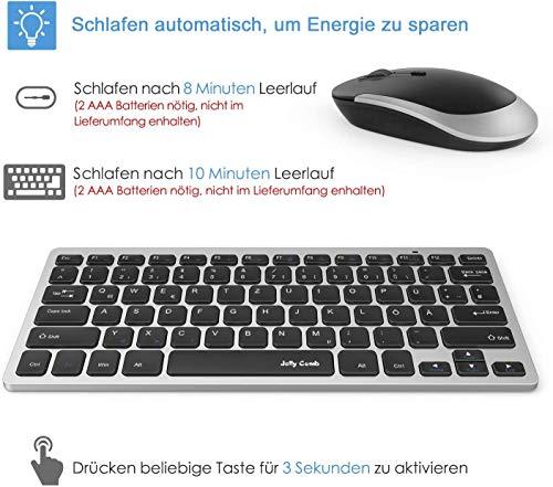 Jelly Comb Funkmaus und Tastatur Set, 2.4G Kabellose Ultraslim Mini Tastatur und Maus Combo, QWERTZ Deutsches Layout für MacBook, PC, Laptop, Smart TV, Schwarz und Silber
