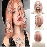 Peluca de encaje frontal de pelo sintético de 35,5 cm, color rosa melocotón corto recto, resistente al calor, de fibra semi atada a mano para mujer