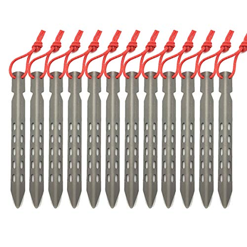 ZYVoyage Titan Heringe,ZeltheringeTitan 6/8 Stück,Ultraleicht Hiker Sandheringe Zeltnagel,V-Profil-Hering 16cm Erdanker (12 Stücke)