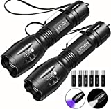 LETION UV Flashlight 2 in 1 [2 Pack],UV Light LED Black Light flashlights with 500LM Highlight & 4 Mode & Waterproof IPX 4 for Pet Clothing Food Fungus Detection/Night Fishing/Travel/Camping