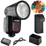 【Godox正規代理&技適マーク】Godox V1-S フラッシュストロボ 76Ws 2.4G TTLラウンドヘッドフラッシュスピードライト 1/8000 HSS 480フルパワーショット10レベルLEDモデリングランプ Sonyカメラ対応 (カラーフィルタは含まれていません)