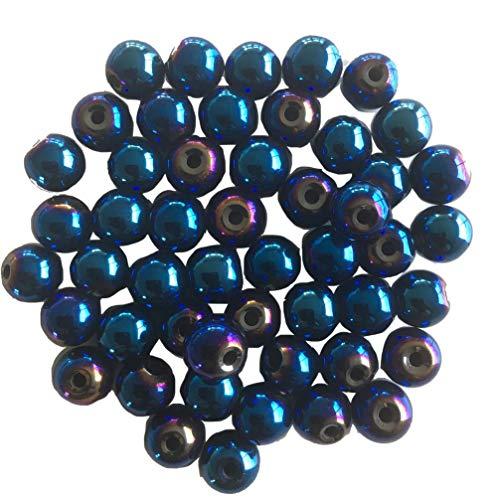 SAVANNAH CHARMS Perlas de Gemas de hematita Azul metálico Reflejo Morado, 8 mm Redonda, creación de Joyas de fantasía