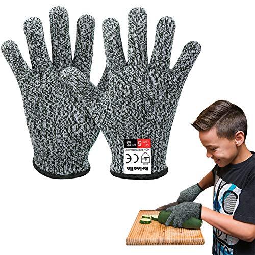 Reinalin Schnittsichere Handschuhe für Kinder, Küchenhandschuhe mit Hoher Schnittschutz der Leistungsstufe 5 für 8-12 Jährige,Lebensmittelkontaktqualität (XS, Grau)…