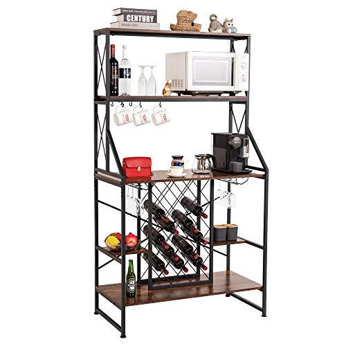 WAYTRIM Wine Rack Table with Glass Holder, Vintage Industrial Wine Bar Cabinet with Stemware Holder and Storage Hooks, Wine Storage Organizer Display Stand - Vintage Brown