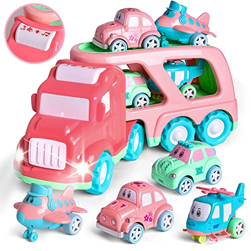 FUN LITTLE TOYS Cartoon Vehicles Car Carrier Truck Pink Toy for Girls with Lights and Sounds, Toys for 2 Year Old Girls, 5 in 1 Push and Go Trailer