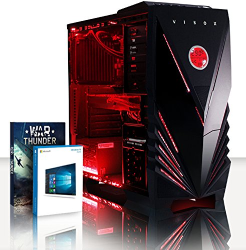 Vibox Fury 63 Gaming PC (2,4 GHz, AMD FX Otto Core processor, Nvidia GeForce GTX 970 grafische kaart, 3TB harde schijf, 240GB SSD, 32GB RAM, Commando Neon Red