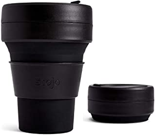 Stojo Ink C S1 C Collapsible Coffee Reusable to Go Pocket Size Travel Cup Black, 12oz, 355ml
