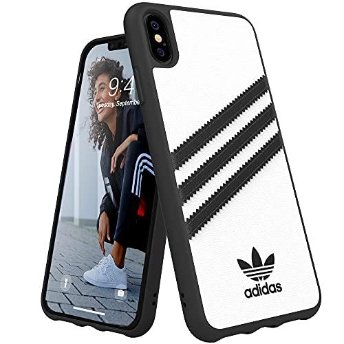 adidas Handyhülle Entwickelt für iPhone XS Max Hülle, Fallgeprüfte Hüllen, stoßfeste erhöhte Kanten, Original Schutzhülle, Weiß & Schwarz Streifen