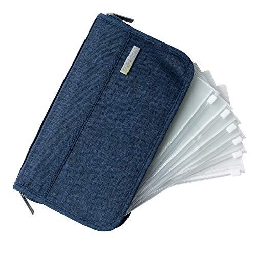 SORASION パスポートケース 家計管理 ケース クリアファイル 【 リフィル 6枚 付き 】 パスポートカバー 通帳ケース (ネイビー)