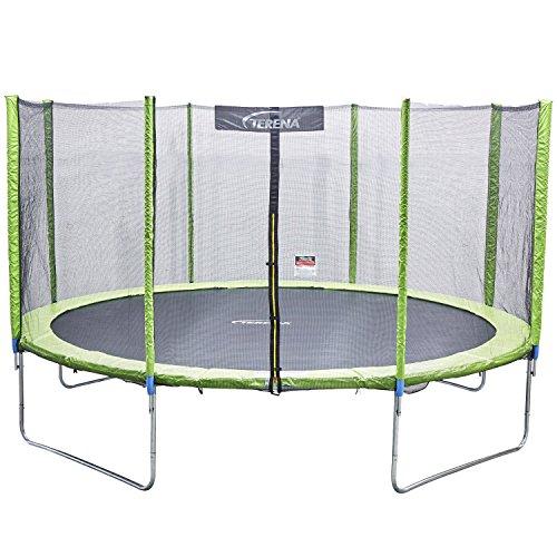 Terena® Trampolin neongrün 183 244 305 366 427cm mit Netz Sicherheitsnetz Gartentrampolin für Kinder (183 cm)
