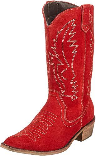 Cowboystiefel für Frauen Leder Western Cowgirl Schuhe Größe EU 40, Rot