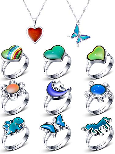 9 Pieces Mood Rings with 2 Mood Necklaces Color Change Ring Adjustable Size Mood Rings Set for Birthday Party Favors Carnival Costume Accessories, Boys, Girls, Adults, Multi Types (Charming Series)