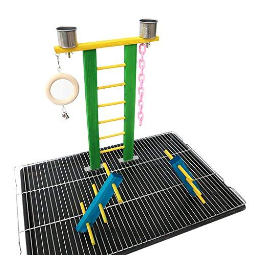 huiingwen Escalera de escalada loro rampa de madera patio de entrenamiento perca plataforma colgante jaula decoración aves garras masticar ejercicio juguete para pájaros loros jugando suministros