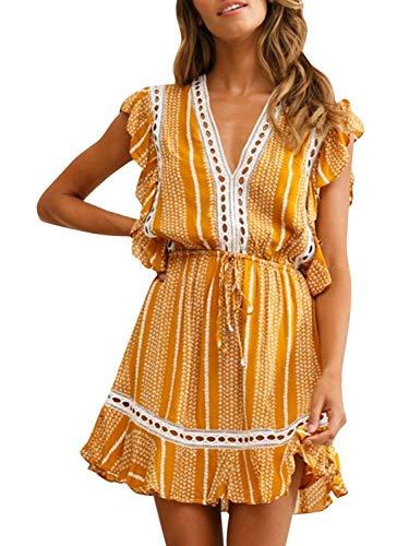 BerryGo Women's Boho Floral Ruffle Mini Dress Sleeveless V Neck A-line Dress Yellow-S