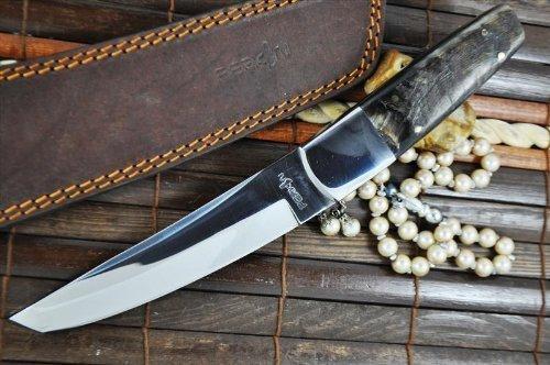 Perkin - Cuchillo de caza hecho a mano - Acero 440c - Mango tanto Blade & Carnero