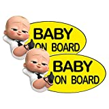 2 Pack Super Cute Reflective Baby On Board Bumper Stickers Size 6X3 Inch,Reflective Kid Yellow Safety Signs Decals for Car Bumper Trucks Window Waterproof and UV Fade Car Décor