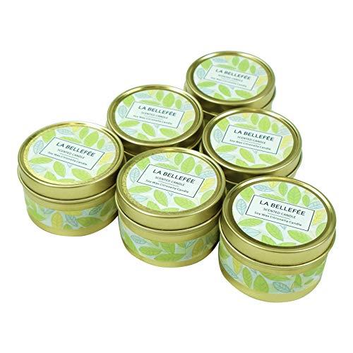 LA BELLEFÉE Bougies Citronnelles Anti-Moustique Cire de Soja Naturel Bougies Parfumées d'Été pour L'Intérieur & l'Extérieur Jardin Terrasse Pique-Nique pour Éloigner Les Moustiques