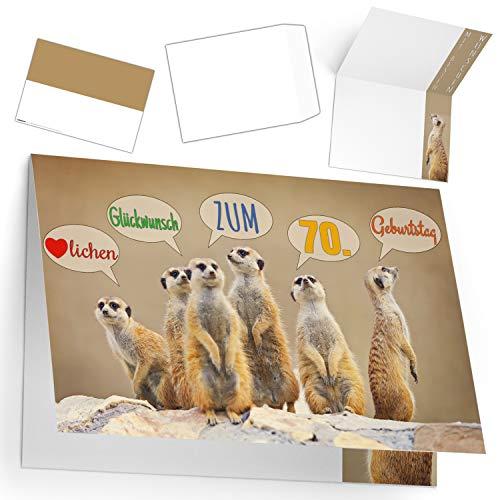 A4 XXL 70 Geburtstag Karte ERDMÄNNCHEN mit Umschlag - edle Geburtstagskarte - Glückwunschkarte zum 70. Geburtstag für Frau & Mann von BREITENWERK